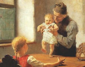 """""""Erste Schritte"""", Gemälde von Georgios Jakobides, 1889"""